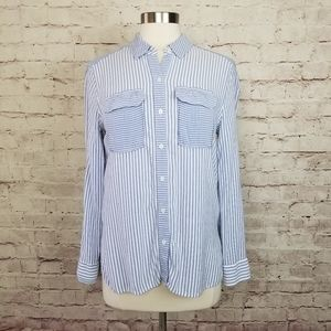 Two by Vince Camuto Striped Button Front Shirt